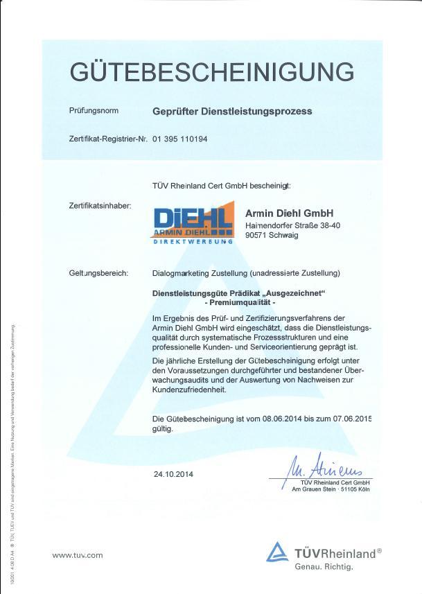 Gütebescheinigung TÜV Rheinland 2014