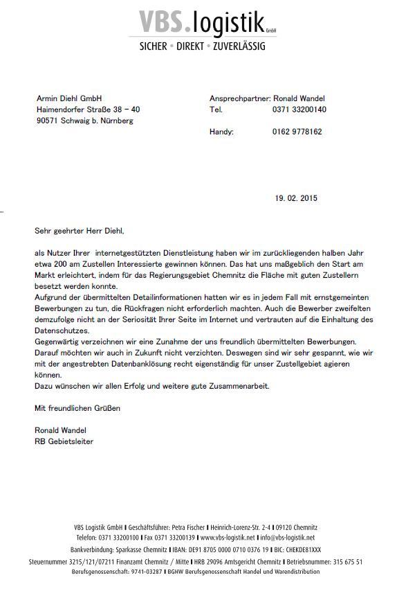 Prospektverteiler Referenz VBS Logistik