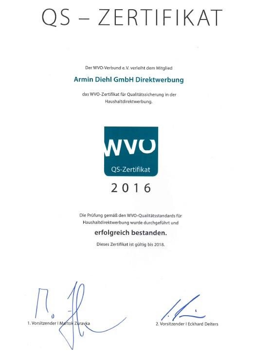 WVO Zertifikat 2016