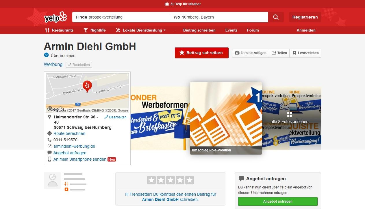 YELP Eintrag Armin Diehl GmbH